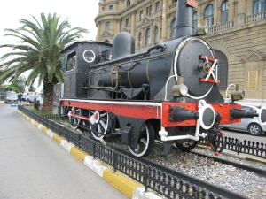 Period locomotive outside the station