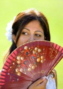 modern woman with fan