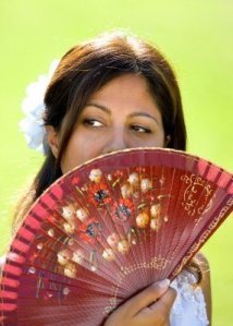 modern woman with fan