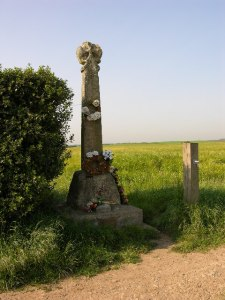 The Towton Cross memorial, with red and white roses